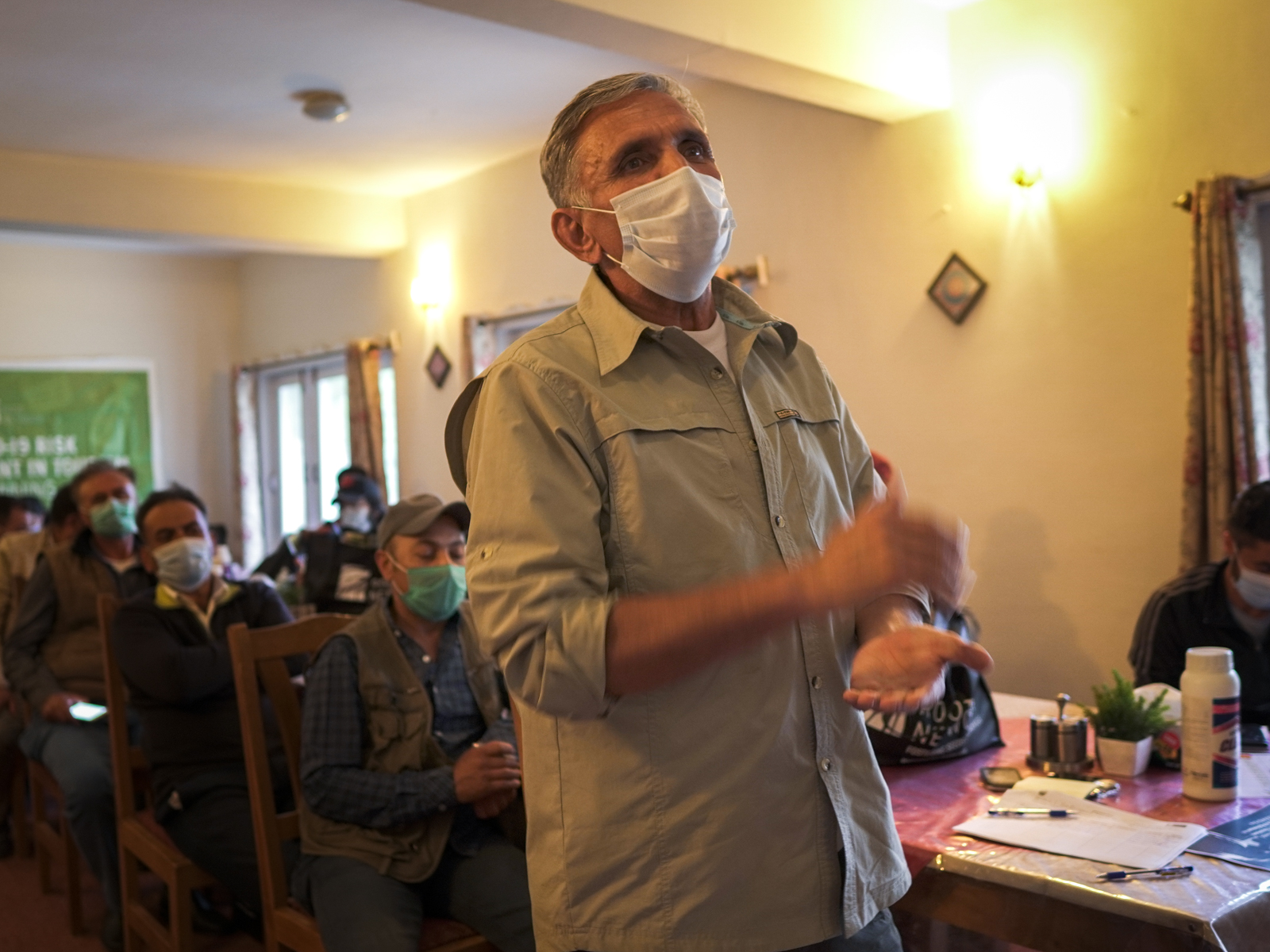 Pakistani tour guide at the Root Network COVID-19 Tourism Safety Management training in Gulmit, Gilgit-Baltistan, Pakistan